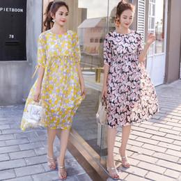 ee6a84d6abe7 6 Foto Coreani incinta in vendita-Vestiti di maternità di chiffon di estate  del vestito dalla stampa
