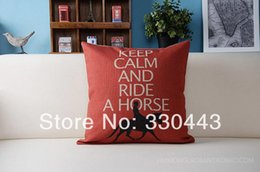 "Discount keep calm pillows - Wholesale-18""(45x45CM) Linen Pillow Cover KEEP CALM AND RIDE A HORSE Printed Cushion Cover Decorative Pillow Case F"