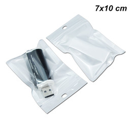 China 7x10 cm 200pcs Lot Back White Self Adhesive USB Cable Storage Bags Zip Lock Electronic Products Organizers Holder with Hang Hole Polybag suppliers