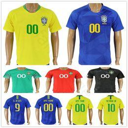 pele jerseys 2019 - 2018 World Cup Brasil Soccer Jerseys Home Yellow Away Blue 10 PELE 9 G.JESUS MARCELO RONALDINHO COUTONHO Custom Football