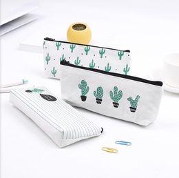 Canvas makeup pouCh zipper online shopping - Cactus pencil bag Pastoral Bandage Canvas Pencil Case plant Makeup Bag Zipper Cosmetic Pouch cm
