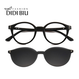 44f57b023d TR90 Polarized Magnet Clip On Sunglasses Women Men Rivet Oval Night Vision  Sun Glasses Driver Round Prescription Frames WN1092