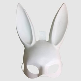 white cosplay ears UK - Fashion Party Carnival White Black Women Girl Sexy Rabbit Ears Mask Long Bunny Cosplay Masks Halloween Masquerade Dance