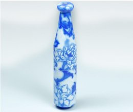 white ceramic pipe UK - A New Ceramic Pipe Holder Length 78MM Character of Blue and White Porcelain