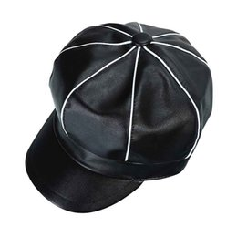 2018 Autumn Winter PU Leather Newsboy Cap For Women Vintage Octagonal Hat  Female Leather Berets Hats b8c2501dca65