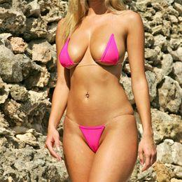 Black string Bikini swimsuit online shopping - Women invisible cotton mesh transparent triangle brazlian bikini low waist micro swimwear Set swimsuit beachewear tanga g strings thongs