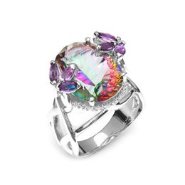 $enCountryForm.capitalKeyWord UK - Large Round Seven Colour Stone Sier Ring For Women Vintage Rainbow Zircon Jewelry Ring For Wedding Ornaments Gift YJZ7613