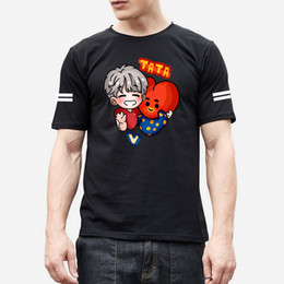 Pop Tees Australia - K-pop BT21 Tshirt Women Men Summer Lovely Short Sleeve Casual Cotton Anime T-shirts Women Short Sleeve Tops Tee Clothes