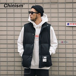93fe4171a78 CHINISM 2018 Winter Basic Thicken Down Vest Male Loose Padded Jacket Men s  Vest Coat Hip Hop Fashion Streetwear