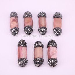 $enCountryForm.capitalKeyWord NZ - New Style 10PCS shell side hole beads, pave black rhinestone shell connector spacer beads findings