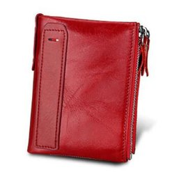 Wholesale 2018 new Business Style Fashion Genuine Leather Men Wallets Hasp Zip Men Purse With Coin Pocket Male Card Holder Short Wallet