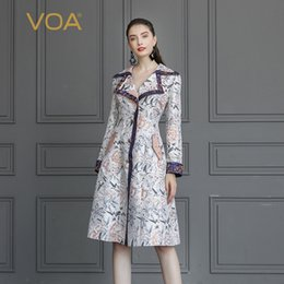 6ee2b2409497 VOA Silk Jacquard Trench Coat Rococo Romance Floral Outerwear Autumn  Elegant Vintage Ladies Long Sleeve Large Size Slim F325