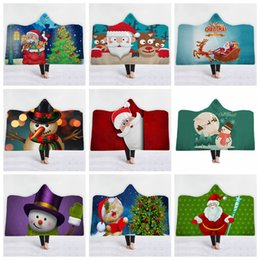 3d christmas bedding 2019 - Christmas Hooded Blanket 150*130cm 37 Styles 3D Printed Bed Cover Soft Plush Thick Blankets Cloak With Cap OOA5871 cheap