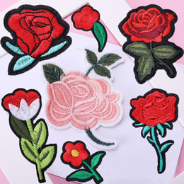 Discount free patches for clothes - 10 Styles Embroidered Patches Sew On Patch Applique and Iron On Rose Patch Embroidered Flower for DIY Clothing Jeans Fre