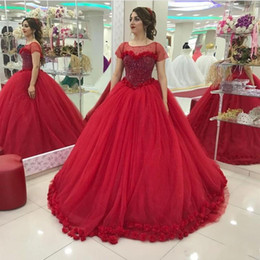 Discount Ball Dresses Australia - Discount Real Red Quinceanera Dresses Ball Gowns Scoop Neck Short Sleeves 3D Flowers Sweet 16 Dresses Sweep Train Evening Party Gowns