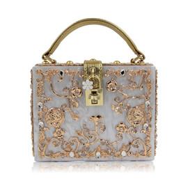 $enCountryForm.capitalKeyWord Canada - Luxury Box shape Tote Women Handbag Brand Acrylic Relief Black Evening Clutch Bag Ladies Prom Party Purse Shoulder Bag