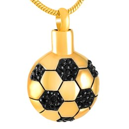 Distinctive jewelry online shopping - ijd8299 Stainless Steel Football Pendants with Chains Necklaces Distinctive Cremation Urn Accessories Ashes Jewelry Openable put in Ash