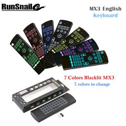 wireless keyboards colors 2018 - 7 Colors MX3 Wireless Keyboard Backlight Air Mouse Portable 2.4GHzRemote Control IR Learning Fly Air Mouese For Smart Tv