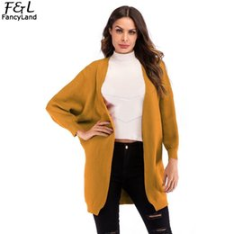 batwing bat sleeve cardigan NZ - Fashion Sweater Women Spring Autumn Women Sweater Cardigan Solid Red Yellow Black V Neck Casual Bat Open Long Sleeve Coat