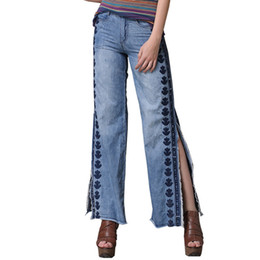 Chinese  Embroidery Jeans Leggings For Girls Coon Loose Denim Pants For Women Pants Ripped High Waist Wide Leg Jeans Womens Clothing manufacturers