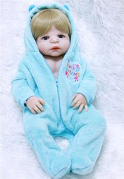 bebe hair 2019 - Full Silicone Bebe s 100% handmade 55cm Vinyl Newborn Baby Boy live Blonde Hair Bathe Toy Birthday Gift dolls lol discou