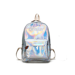 holographic bags UK - Mochila 2018 New Women Hologram Backpack Laser Daypacks Girl School Bag Female Silver PU Leather Holographic Bags