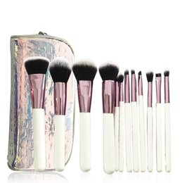 rose gold makeup brush set Australia - Cosmetics 12Piece Crystal Makeup Brush Set With Zipper Bag White Rose Gold Glitter Sparkle Case Bag