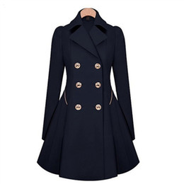 Moda Feminina Lapela Longo Casaco De Inverno Double-breasted Outwear Slim Fit Dust Coat