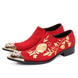 red leather dresses Australia - Designer Floral Embroidery Men Dress Shoes for Wedding Prom Red Suede Leather Formal Men Business Shoes Big Size