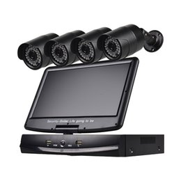 Night Weatherproof Security Camera UK - 4 Channel Security Camera System 10.1 inch LCD 1080N AHD DVR 4*1.0MP Weatherproof Cameras with Night Vision