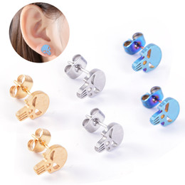 $enCountryForm.capitalKeyWord NZ - Newest Arrival Fashion cartoon skull stud earrings Stainless steel ear bone nail wholesale 3 color free shipping