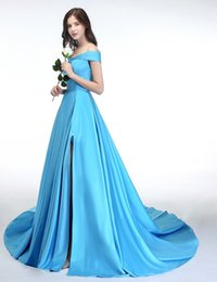 yellow evening gown s Canada - New Sexy Sky Blue A Line Off The Shoulder Evening Dress Side Split Prom Dresses Satin Long Vestido Special Occasion Gowns Arabic 2018