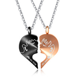 "king queen gifts UK - Charm Stainless Steel ""His Queen & Her King"" Heart Puzzle Matching Promise Couples Necklace"