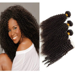 Knotting Hair Styles Australia - New arrival Eurasian kinky curly bundle with lace front closure weaves bleached knots free style hair
