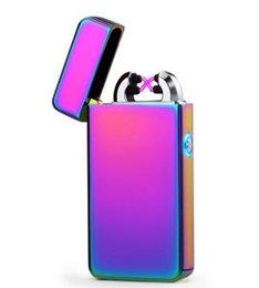 $enCountryForm.capitalKeyWord UK - New Double ARC Electric USB Lighter Rechargeable Plasma Windproof Pulse Flameless Cigarette lighter colorful charge usb lighters DHL