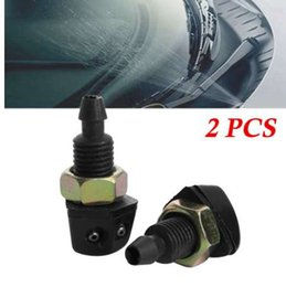 window car parts UK - 2Pcs Universal Car Vehicle Front Windshield Window Washer Sprayer Nozzle Black Plastic Exterior part High Quality