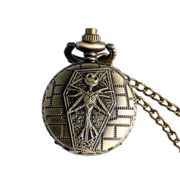 Small Clocks Watch UK - Bronze Retro Small Size Nightmare Before Christmas Pocket Watch Vintage Clock Necklace Pendant Chain Womens Mens Children Gifts