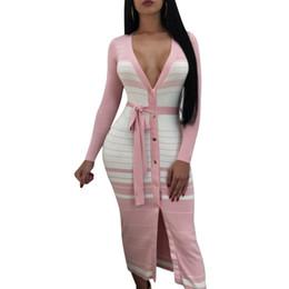 Midi maniche lunghe a righe Midi Sexy scollo a V bottoni anteriore fessura  Bodycon Club Dress donna abiti casual 2018 Nuovo 7d3cb5d2752