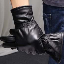 Men Gloves Leather Sheepskin NZ - [TIMESWOOD] Men Women Sheepskin Gloves Real Genuine Leather Mittens With Fleece Inside For Men's Ladies M L XL XXL Dropshipping