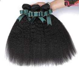 16 inch kinky weave 2019 - Wholesale 8A Brazilian Virgin Hair Kinky Straight Extension Unprocessed Peruvian Brazilian Hair Weaves 3 Bundles Yaki We