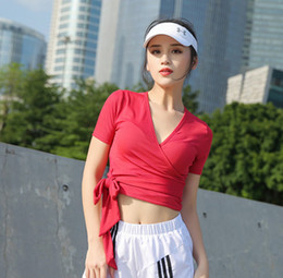 e2a6c676db278c sexy workout shirts 2019 - Women s Sexy V Collar Yoga Fitness Training  Workouts Quick-Drying