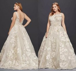 Chart tanks online shopping - Oleg Cassini Tank Lace Plus Size Wedding Dress with Beads D Appllique Plus Size Princess Full length Beach Wedding Bridal Dress