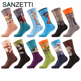 funny christmas socks 2019 - SANZETTI 12 pairs lot Men's Funny Combed Cotton Socks Dress Casual Crew Socks for Man Dozen Packs Tube for Christmas Gif