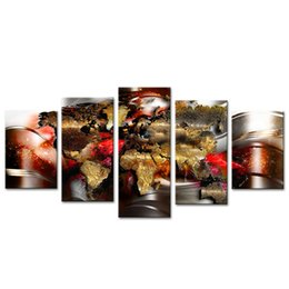 Chinese  5 Pictures Canvas Printing Polychrome Map Wall Art Painted Abstract Map Picture Modern Contemporary Painting for Living Room with Framed manufacturers