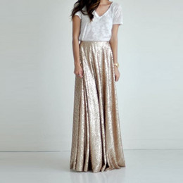 Wholesale sequined skirts for sale - Group buy Champagne Shiny Sequined Long Skirts For Bridesmaid To Wedding Zipper A line Elegant Skirt Women Custom Made Saia Faldas