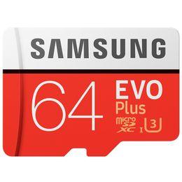 Original samsung cartão de memória 64g vermelho micro sd tf cartão class10 u3 sdhc sdxc 100 mb / s cartões de memória do telefone celular venda por atacado