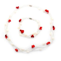 $enCountryForm.capitalKeyWord UK - The latest fashion freshwater pearl jewelry set magnetic buckle pearl turquoise crystal necklace and bracelet set wholesale