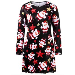 1092a48b985 Fashion sexy dress Women Merry Christmas elegant Panel Santa Claus Print  Long Sleeves Dress plus size vestidos verano 2018