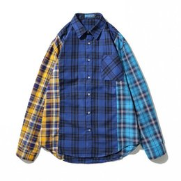 801a954eaf27c Patchwork Hip Hop camisas a cuadros para hombre vestido de manga larga  camisa de la chaqueta azul a cuadros informal camisa de franela de algodón  Streetwear