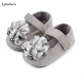 $enCountryForm.capitalKeyWord Australia - 1 Pairs Lytwtw's Kids Girls Boys First Walkers Newborn Pearl Flower Canvas Baby Toddlers Shoes Children